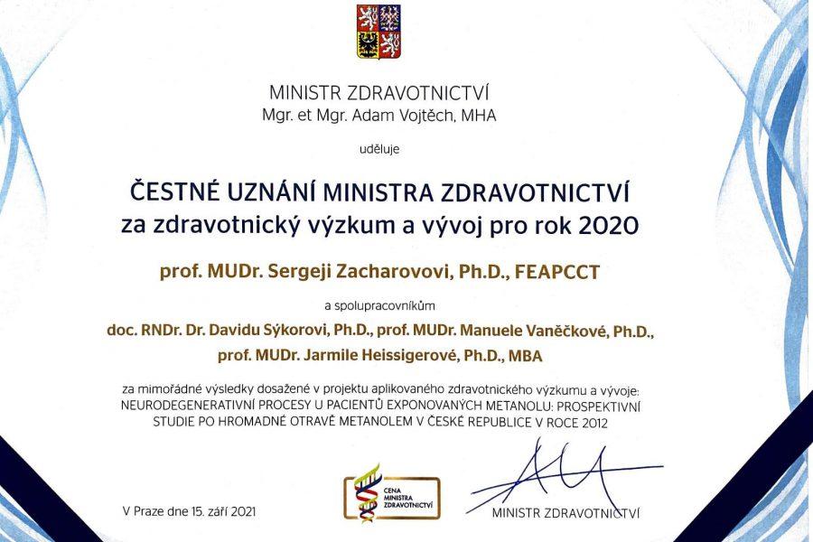 Ocenění za vynikající výsledky ve zdravotnickém výzkumu